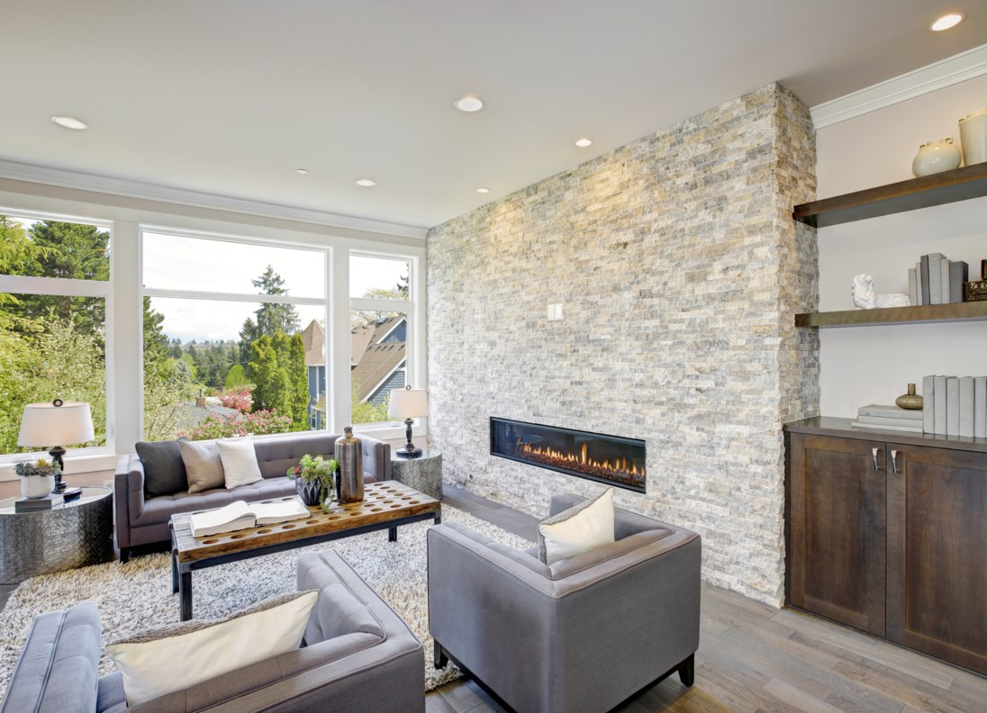 Classic family room with views